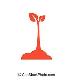 design sapling icon orange