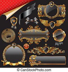 design, satz, elemente, königlich, gold