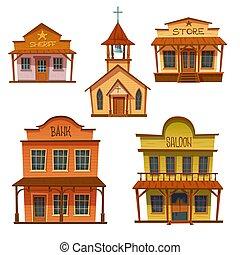 design., sauvage, bâtiments, ouest, style, cow-boy, ensemble