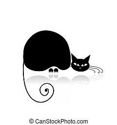 design, schwarz, silhouette, dein, katz