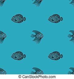design, scrapbooking., aquariumfisch, fish., markt, verpackung, seaquarium, reizend, muster, meer, grobdarstellung, bluebackground., shop., gebrauch, seamless, geschäfte, gewebe