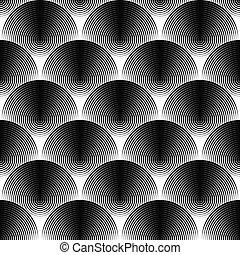 Design seamless monochrome ellipse pattern. Abstract textured background. Vector art. No gradient