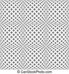 Design seamless monochrome warped diamond pattern. Abstract convex textured background. Vector art. No gradient