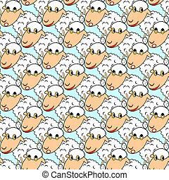 Design seamless pattern with cartoon sheeps