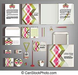 design., set, corporativo, identity., variopinto