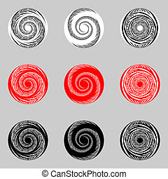 Design set of abstract spiral elements