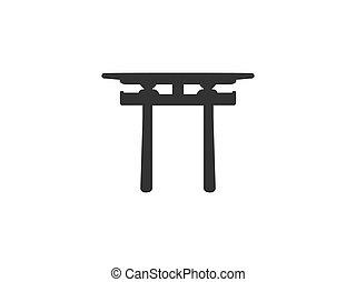 design., shinto, japonés, ilustración, vector, plano, icon...