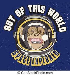 design., singe, astronaute, ceci, t-shirt, mondiale, slogan, dehors, illustration.