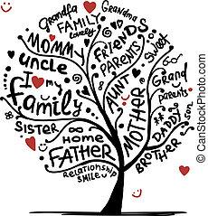 design, skica, strom, tvůj, rodina