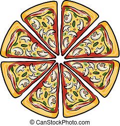 design, skiss,  pizza, din, styckena