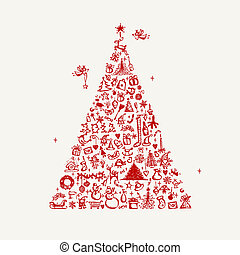 design, skizze, baum, dein, weihnachten