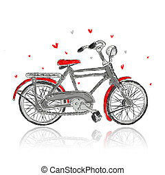 design, skizze, fahrrad, dein, altes