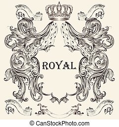 design, skydda, heraldisk, krona, vacker