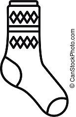 Design sock icon outline vector. Cute cotton item