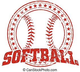 design, softball, -, weinlese