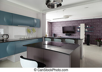 Design solution of open space for modern apartments. Modern...