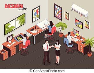 Design Studio Isometric Illustration