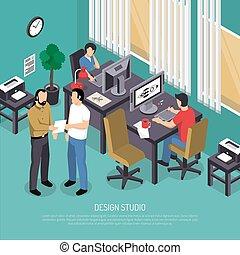 Design Studio Isometric Illustration - Turquoise design...