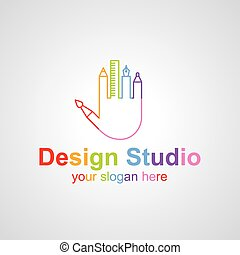 Design studio vector logo design - Palm with fingers from...