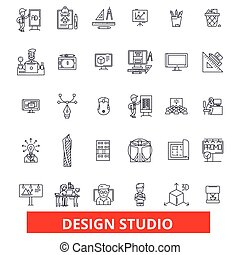 Design studio, workshop, office, agency, company, bureau, artistic, creative line icons. Editable strokes. Flat design vector illustration symbol concept. Linear signs isolated on white background