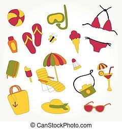 design summer beach items set illustration vector