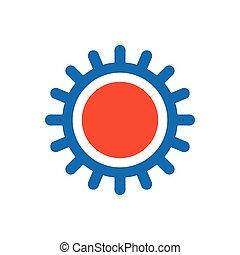 design Sun icon blue and orange