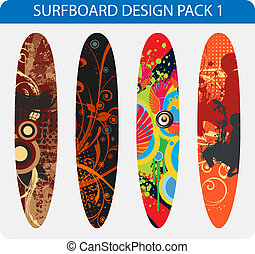 design, surfbrett, satz
