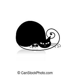 design, svart, silhuett, din, katt