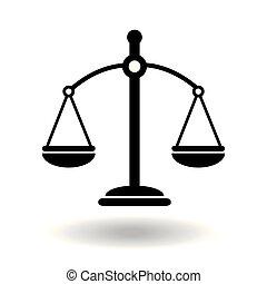 design., symbool., libra, black , witte , justitie, evenwicht, wet, achtergrond, eenvoudig, icon., vector, plat, illustratie, schalen