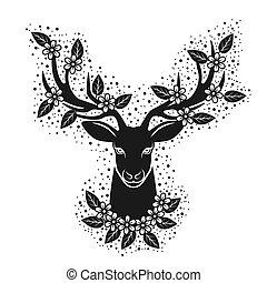 design, t-shirt, huvud, silhuett, flowers., hjort, blomning