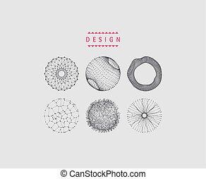 design., tecnologia, collegato, sfera, astratto, 3d, linee, illustration., griglia, dots., wireframe, style.