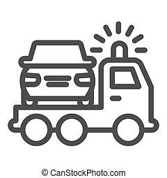 design., teia, estilo, cima, conceito, icon., reboque, vetorial, sinal, móvel, esboço, graphics., danificado, linha, pictograma, branca, caminhão, experiência., acidente, salvamento, car, pico, veículo, símbolo