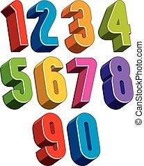design., tela, conjunto, números, 3d