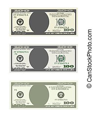 Design template 100 Dollars Banknote. Bill one hundred dollars in three options. Suitable for discount cards, leaflet, coupon, flyer, vouchers. Vector in flat style. USD isolated on white background.