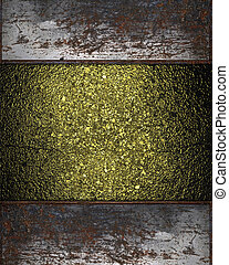 Background of gold with a rusty plate for writing on edges
