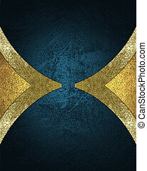 Blue background for the label, with gold notches on the edges