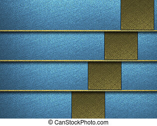 Blue background with gold horizontal stripes and gold...