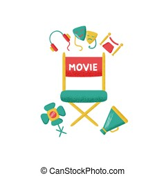 Design template card with icon of cinema.
