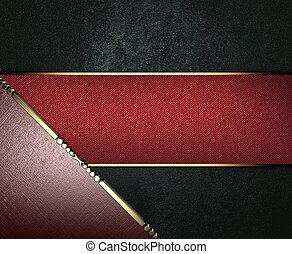 Design template - Black texture, with brown edges and gold trim and red name plate