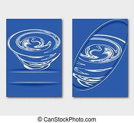 Design template for brochure or leaflet. Blue abstract cover book with stylized tornado vortex. Flyers report business magazine poster in A4 layout.