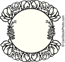 Design template for rose wreath frame natural style. Vector