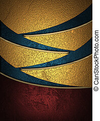 Design template. Golden abstract background with blue slits.