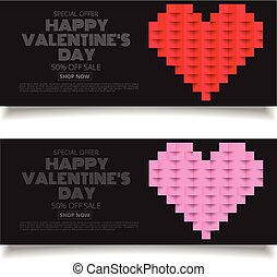 Design Template Heart for Valentine's Day geometric Background discount sale promotion