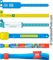 Design template of entrance bracelet at concert zone, performing party, dancing club. Event for party