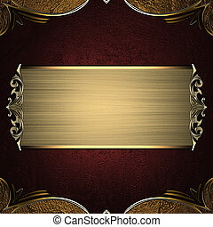 Red golden texture with gold corners and a beautiful golden plate