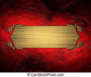 Design template - red rich background with gold plate