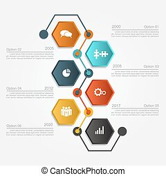 Design template with elements and icons. Vector...