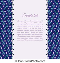 Design template with purple tulips