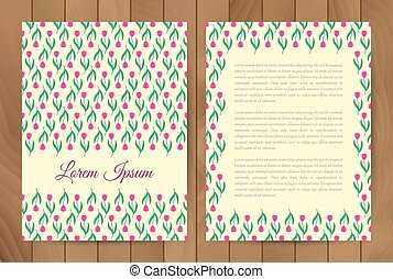 Design template with red tulips