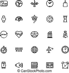 Design time line icons on white background